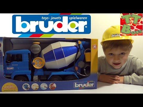 ✔ BRUDER Бетономешалка. Игрушки для детей. Видео для мальчиков / Concrete Mixer video for children ✔ видео
