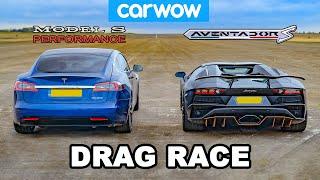 Lamborghini Aventador vs NEW Tesla Model S Performance: DRAG RACE!