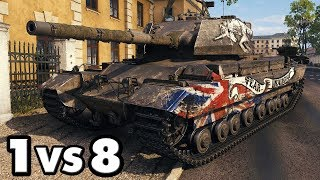 Caernarvon Action X - 13 Kills - 1 vs 8 - World of Tanks Gameplay