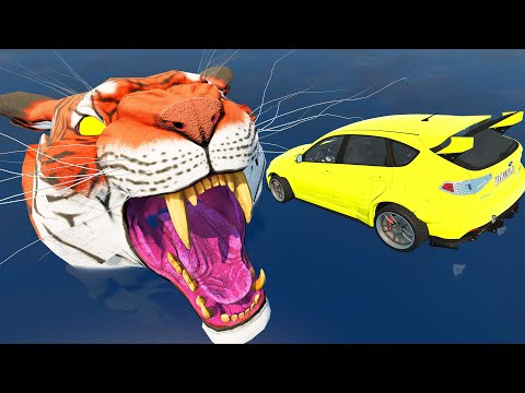 Mad Jumping Into the Mouth of the Giant Tiger - Beamng drive