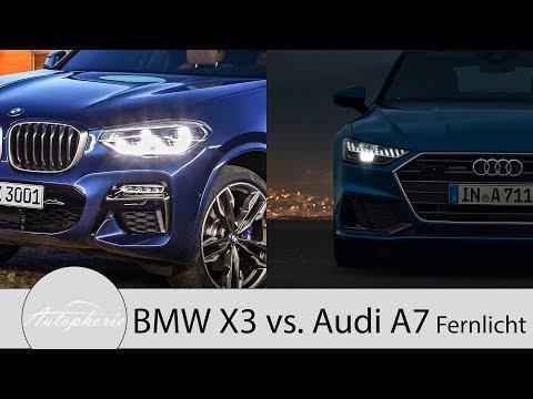 BMW X3 Adaptiver LED-Scheinwerfer vs. Audi A7 HD-Matrix-LED mit Laserlicht [4K] - Autophorie