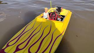 """Apache 50"""" Gas Powered RC Boat Maiden Voyage FPV w/GoPro Footage"""