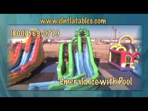 'Emerald Ice' Inflatable Water Slide with Pool