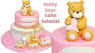 Baptism Teddy Bear Fondant Cake - Torta Battesimo Con Orsetti Pasta Di Zucchero