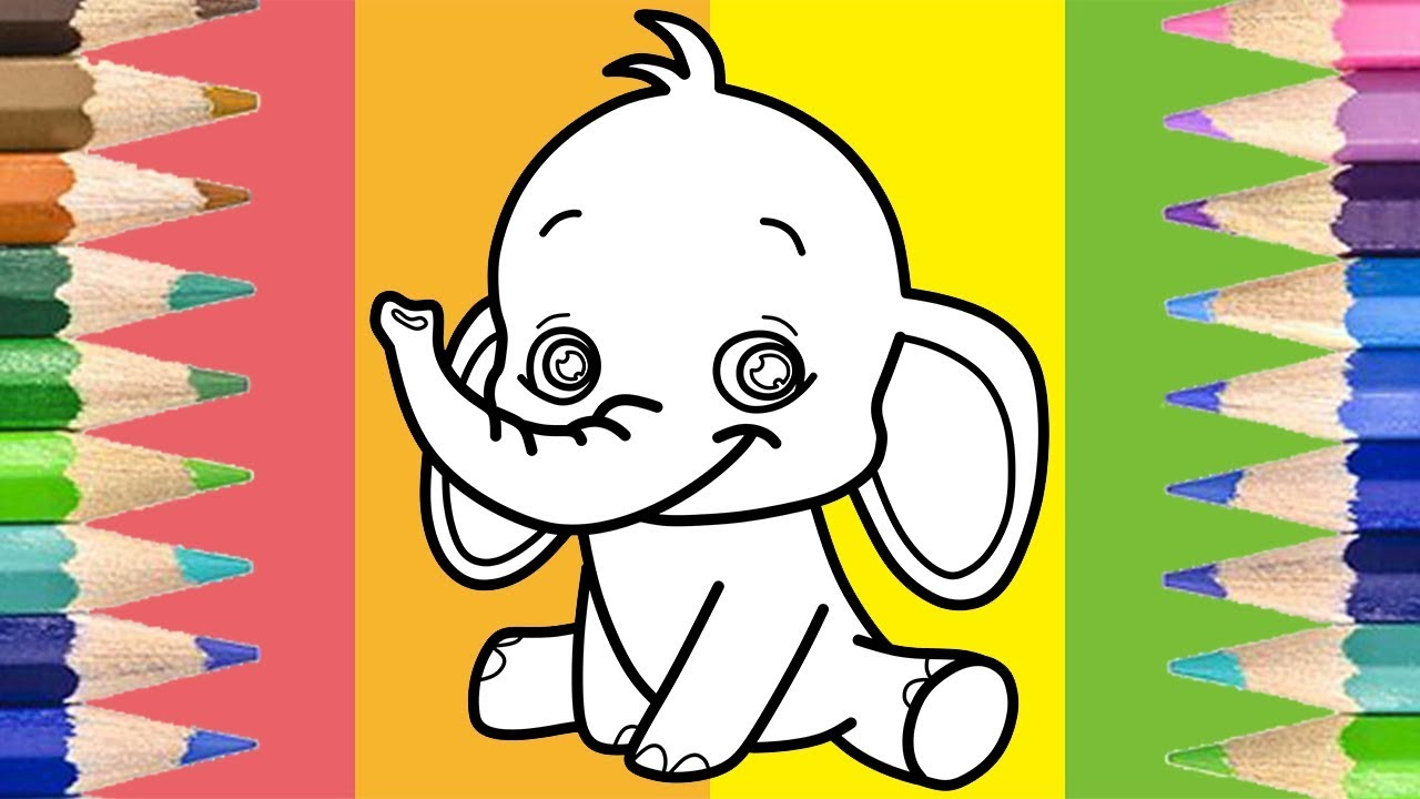 How to Draw Elephant Coloring Pages Learn Colors Video for Kids and Toddlers
