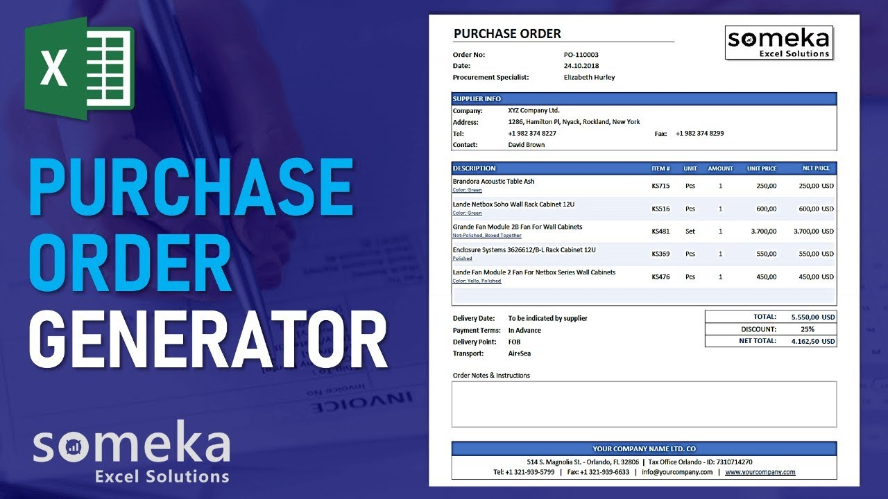 purchase order template excel po generator tracker tool