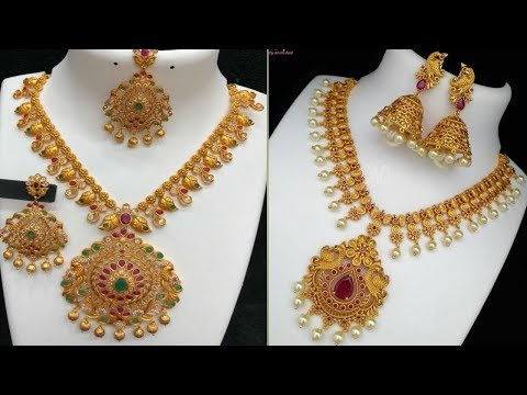 latest mini haram models ll gold haram Designs for bride l light weight harams