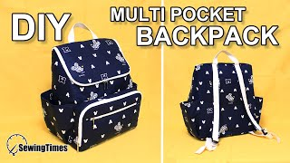 DIY Multi Pocket Backpack | 멀티 백팩 만들기 | Diaper Backpack Making | Handmade Bag Design [sewingtimes]