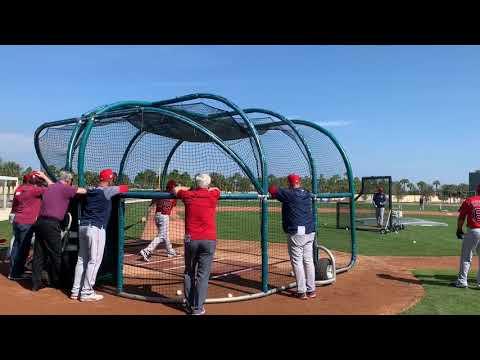 Blake Swihart, Boston Red Sox catcher, takes batting practice during spring training 2019