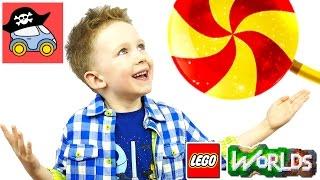 🌏 #3 КОНФЕТНЫЙ МИР в LEGO WORLDS гигантские леденцы и стена вместо дома Жестянка новые серии