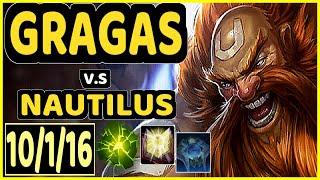 NJI (GRAGAS) vs NAUTILUS - 10/1/16 KDA BOTTOM SUPPORT CHALLENGER GAMEPLAY - EUW
