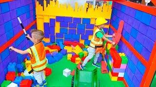 Vlad, Nikita and Mom Fun Activities at Indoor Playground