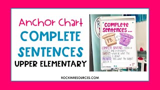 Complete Sentences Anchor Chart For Elementary Students
