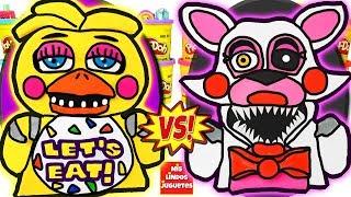 Huevos Sorpresa Gigantes de Five Nights At Freddy's Chica VS Mangle de Plastilina Play Doh en Españo