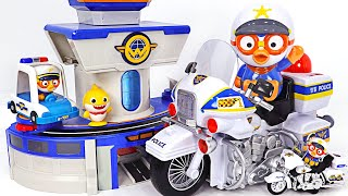 A scary Dinosaur appeared! Pororo Police Motorcycle, Police Car dispatch! | PinkyPopTOY