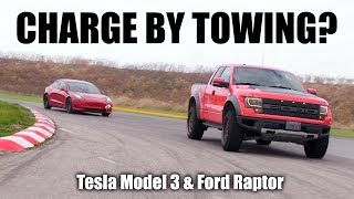 Can Towing A Tesla Model 3 With A Ford Raptor Recharge It? The Straight Pipes high mileage Ford Raptor is used to tow the Tesla Model 3 Performance while driving around Toronto Motorsports Park.  Can you recharge a Tesla Model 3 by towing it? That's a great question, and we're going to to use a Ford Raptor to find out. We'll also need to determine how quickly a Tesla can be recharged by towing it, and how far you'd need to travel to fully recharge the battery. The Tesla Model 3 can charge its battery through regenerative braking, where the wheels of the car force the electric motor to spin, which forces a charge into the battery. This is used to slow the car down, and improve its efficiency. However, if you tow the car, you might be able to use that regenerative braking to charge the battery, that is what this video seeks to find out.   On top of this, we'll determine what's more efficient - Option 1: traveling with a Ford Raptor from A to B, or Option 2: Using a Raptor to tow a Tesla, then driving the Tesla from A to B. To do this, we'll need to determine the Tesla's efficiency, the Ford's efficiency, and the Ford's efficiency while towing. Then, using the regen rate of the Tesla, we can find out what the Tesla's true fuel economy is while using a Ford Raptor to tow it. It's a super fun video with a fascinating conclusion; have a watch!  Check out The Straight Pipes! - https://www.youtube.com/channel/UC86SBFIAgnYL3ll2ZDgmsuA  EE Shirts! - http://bit.ly/2BHsiuo Recommended Books & Car Products - http://amzn.to/2BrekJm Subscribe for new videos every Wednesday! - https://goo.gl/VZstk7  ------------------- #tesla #model3 #fordraptor -------------------  Engineering Explained is a participant in the Amazon Influencer Program.  Don't forget to check out my other pages below! Facebook: http://www.facebook.com/engineeringexplained Official Website: http://www.howdoesacarwork.com Twitter: http://www.twitter.com/jasonfenske13 Instagram: http://www.instagram.com/engineeringexplained Car Throttle: https://www.carthrottle.com/user/engineeringexplained Amazon: https://www.amazon.com/shop/engineeringexplained EE Extra: https://www.youtube.com/channel/UCsrY4q8xGPJQbQ8HPQZn6iA  NEW VIDEO EVERY WEDNESDAY!
