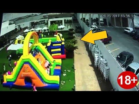 Tornado se lleva inflable con niños adentro...!