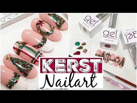 Kerst nail art met gelpolish handpainted ♥ Beautynailsfun.nl