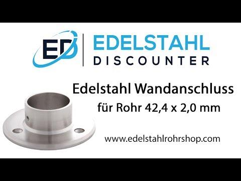 Edelstahl Wandanschluss für Rohr 42,4 x 2,0 mm