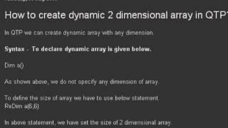 dynamic 2 dimensional array in QTP
