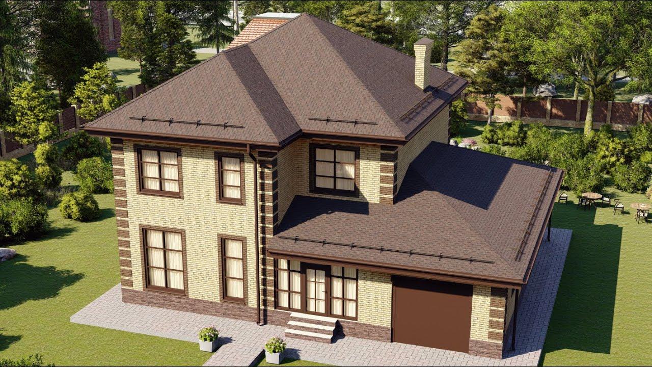 Удачный проект двухэтажного дома с большим гаражом 200 кв.м