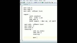 Assembly Tutorial Adding Elements of an Array Using Loops Lec29
