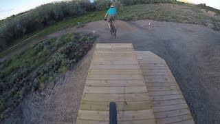 The big drop line at Beck Lake Bike Park