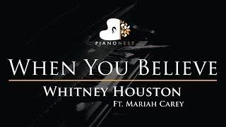 Whitney Houston Ft. Mariah Carey   When You Believe   Piano Karaoke  Sing Along Cover With Lyrics