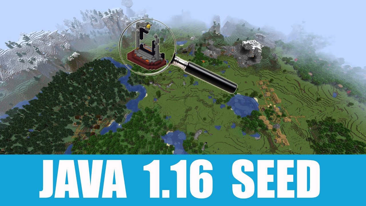 Java 1.16 Seed: Two ruined portals stand between three villages at spawn MINECRAFT SEED  -4533340919460055907