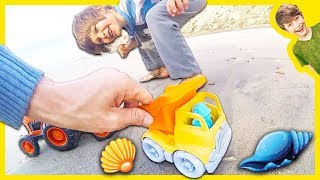 Toy Trucks Collect Seashells at the Beach!