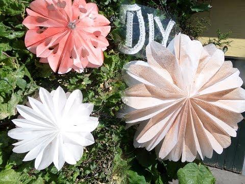 DIY: Beleuchtete Garten Lampions, BLÜTEN aus Papierfrühstückstüten SELBER BASTELN :))