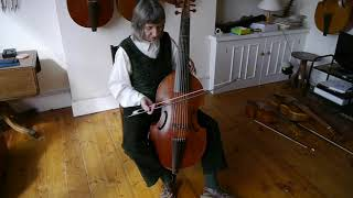 Holding a 7-string viol with Alison Crum