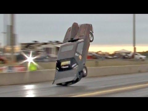 Mustang Flies during Drag Race