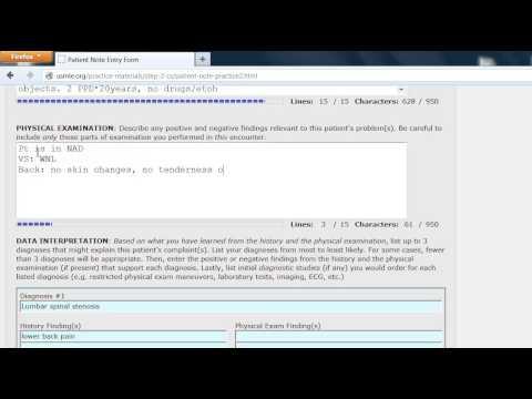USMLE Step 2 CS, patient note #3 back pain