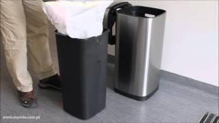 Ведро для мусора 21 литр с сенсорной крышкой металл матовый Merida - видео 1