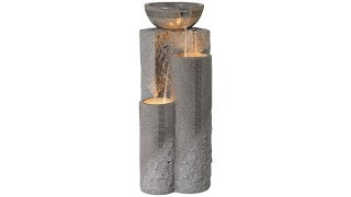 "Faux Marble Bowl & Pillar 34 1/2""H Indoor-Outdoor Fountain"