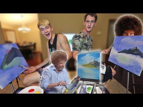 WE TRIED FOLLOWING A BOB ROSS PAINTING TUTORIAL!