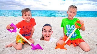 Vlad and Nikita had a Fun Day on the Beach! Plying with Mom and Sand