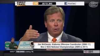 "Florida Football: Jim McElwain on ""First Take"" 7-21-15"