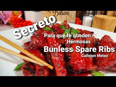 Costillas Chinas Rojas sin hueso/Bonless Spare ribs y un ingrediente secreto para que no se rompan