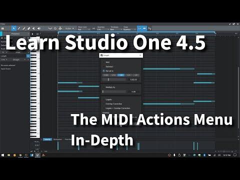 Learn Studio One 4.5 | The MIDI ACTIONS MENU | In-Depth