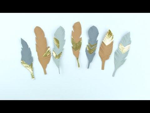 Federn basteln aus Papier - Boho DIY für Lesezeichen, Wandkunst und Girlanden