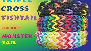 Triple Cross Fishtail Bracelet - Monster Tail - Rainbow Loom