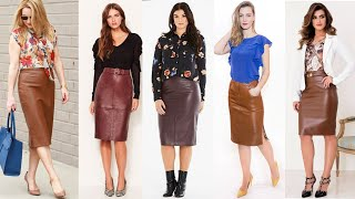Attractive & Beautiful Leather Pencil Skirts Outfits For Plus Size Ladies/leather Pencil Skirts