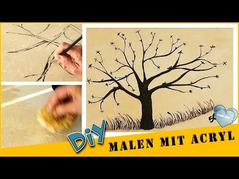 DIY Malen Acryl - Baum für Partyspiel | Hintergrund Schwammtechnik