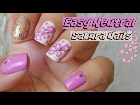 Easy Neutral Sakura Nails - Linda165