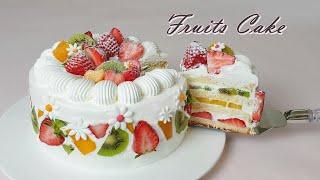 How to make Fruits Fresh Cream Cake /  Recipe /  Soft Vanilla Sponge Cake
