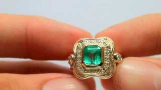 Regal! Colombian Emerald & Diamond Cocktail Solid Gold Ring 1.62cts!