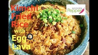 Sizzling Korean Kimchi Fried Rice w/ Bacon & Egg Lava (김치볶음밥) - Modern Pepper Video #9