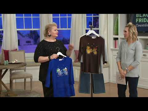 Quacker Factory Holiday Bicycle 3/4 Sleeve T-shirt on QVC